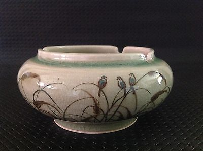Celadon Siam Hand Made/painted Pottery Ashtray - Reeds, Birds, Vintage 1978+