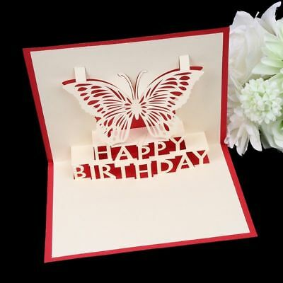 3D Handmade Pop Up Card Butterfly Happy Birthday Greeting Cards Invitations Gift