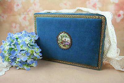 Antique FRENCH fabric box velvet nice color blue with medallion frazarte signed