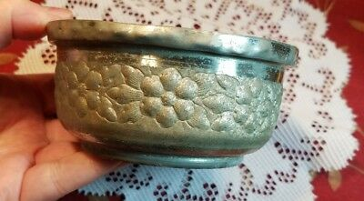 """Antique Tin Planter With Floral Embossed Design 4.25"""" Wide 2"""" Tall"""
