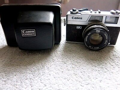 CANON CANONET 19QL RANGEFINDER 35mm FILM CAMERA & CASE FOR REPAIRS NOT WORKING