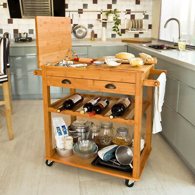 SoBuy Kitchen Trolley Cart with Folding Worktop,Home Storage Cabinet,FKW08-N,UK