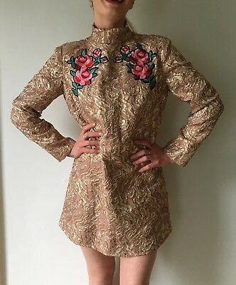 VTG 60's LOOK GOLD BROCADE Shift MINI PARTY PROM FORMAL Dress w Rose Embroidery