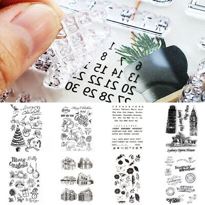 1 Sheet Silicone Christmas Transparent Clear Rubber Diary Scrapbooking Stamp