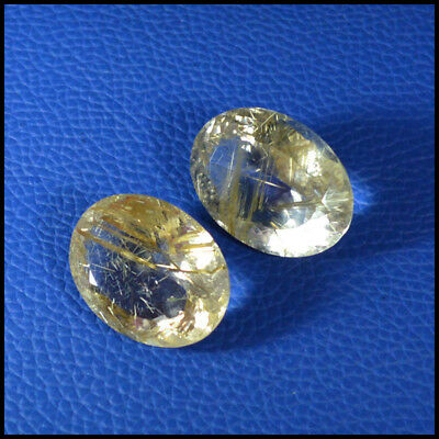 "79.24Cts NATURAL GOLDEN ""HAIR"" RUTILATED QUARTZ OVAL 2Pcs CUT GEMSTONE 114-19"