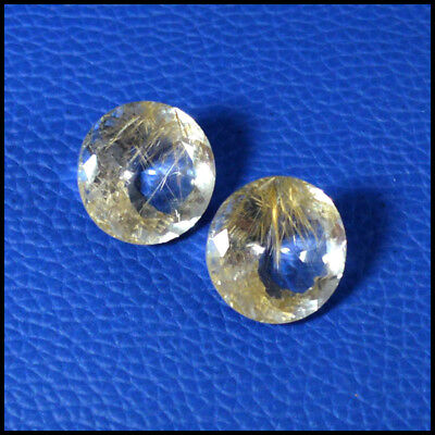 29.83Ct NATURAL GOLDEN HAIR! NEEDLE RUTILATED QUARTZ ROUND 2Pcs CUT GEMS 114-07