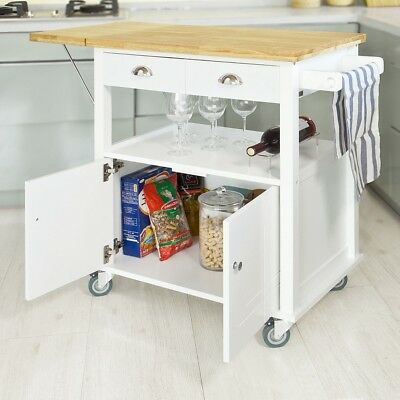SoBuy Extendable Kitchen Trolley with Left-side Folding Hinged Board,FKW19-WN,UK