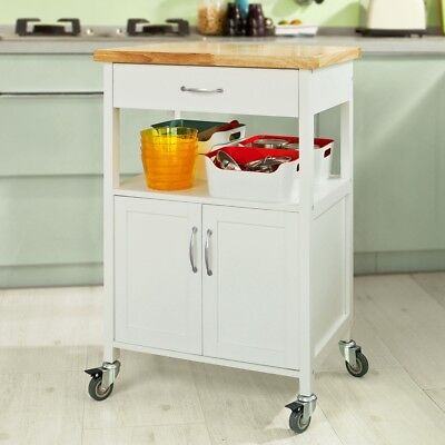 SoBuy® Kitchen Trolley Cart with Doors, Home Storage Cabinet, White,FKW22-WN, UK