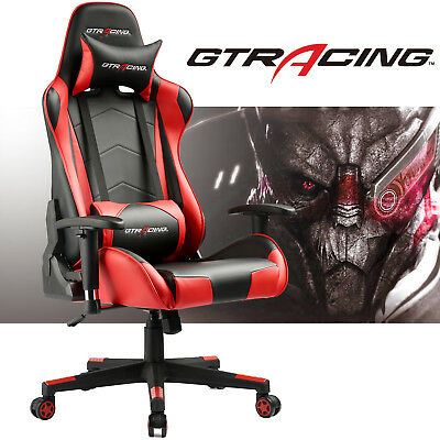 GTRacing Gaming Chair Leather High Back Recliner Executive Office Chair Red US