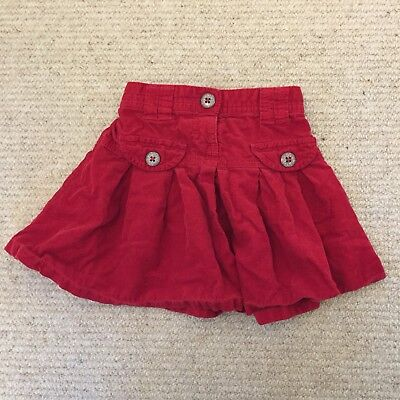 Next Red Girls Cord Skirt Christmas 18-24 Months 1.5-2 Years