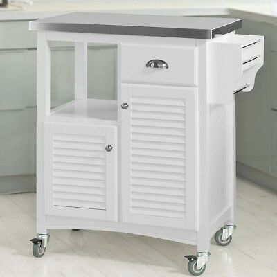 SoBuy® Kitchen Trolley Cart with Stainless Steel Top & Shutters Doors,FKW37-W,UK