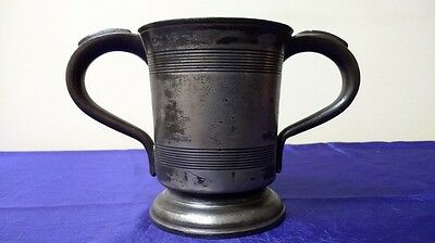 2 Handled Victorian 1 Pint Pewter Tankard