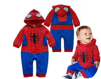 Spiderman Long Sleeve Cute Baby All-In-One Romper Costume Outfit Gift Xmas