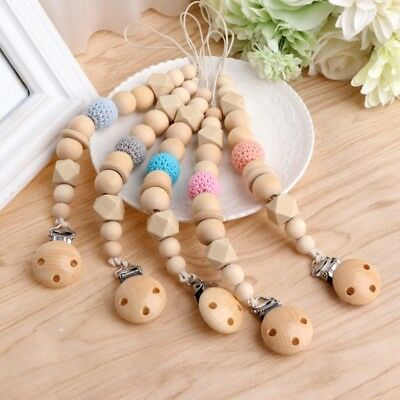 DIY Infant Baby Wood Dummy Pacifier Soother Nipple Chain Shield Clip Holder Gift