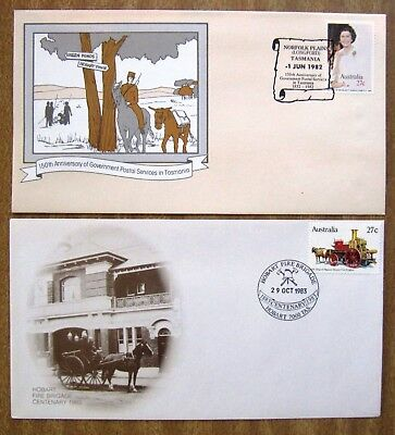 1980s Commemorative 1st Day Covers:  TASMANIAN  x 2