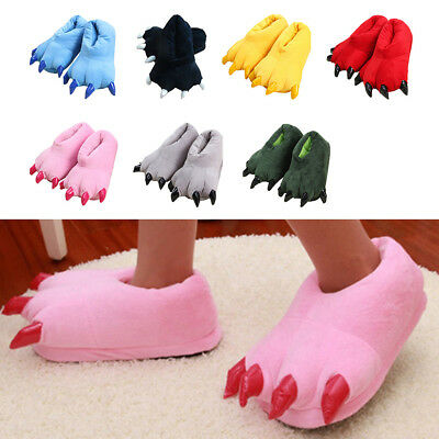 Christmas Monster Claw Shape Paw Plush Fur Warm Slipper Warm Indoor Shoes Gift