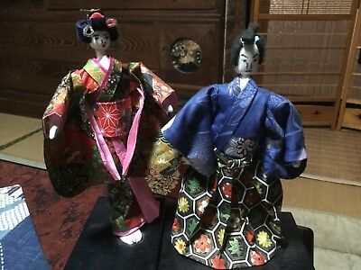 Japanese handicraft WASHI paper dolls (part of material is made of fabrics) 24cm