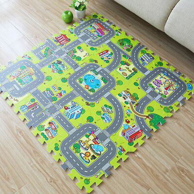 9Pcs City Road EVA Floor Play Mat Baby Kids Room Crawl Jigsaw Foam Puzzle Carpet