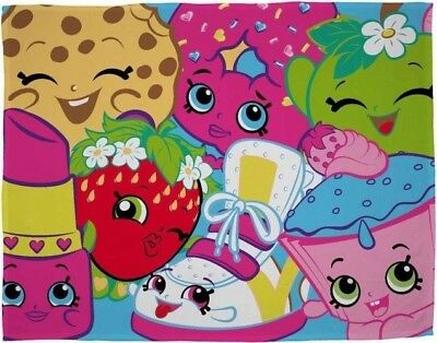 New Shopkins Super Soft Blanket Girls Childrens Kids Pink Fleece Throw Gift