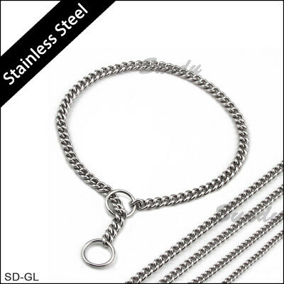 Stainless Steel Dog Chain Twisted Necklace Pet Dog Choker Collars Silver 5 Sizes