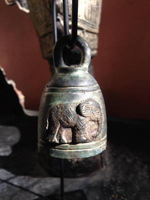 Amulet buddha chime bell Thai temple clapper elephants stand antique style sound