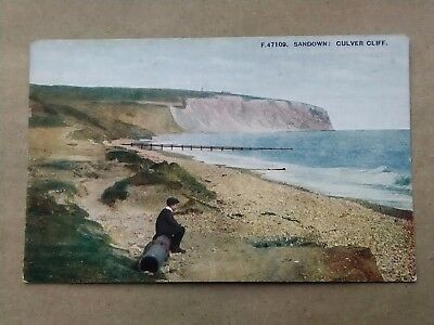 Sandown, Isle of Wight YOUNG BOY AT CULVER CLIFF Old Postcard