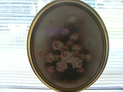 Large Vintage Original Oil Painting On  Board In Wood Frame Of Pink Roses Signed
