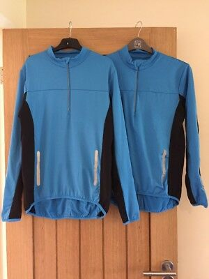 2 X Men's Blue Outdoor Cycling Walking Sports Tops - Medium - Very Good