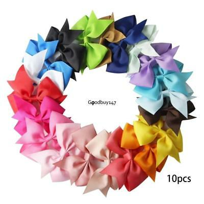 10PCS/Lot Bow Hair Clip Ribbon Alligator Clips for Girls Kids Sides Accessories