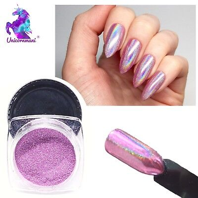 15 microns PINK UNICORN HOLOGRAPHIC POWDER Rainbow Nails Mirror Chrome UK Ls-03