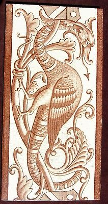"Antique Transfer printed 8"" x 4"" Tile 'Gothic Beast' c1885 (A)"
