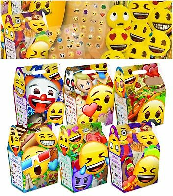 Emoji Birthday Party Bag Sets Cardboard Meal Lunch Box Includes Stickers & Toys