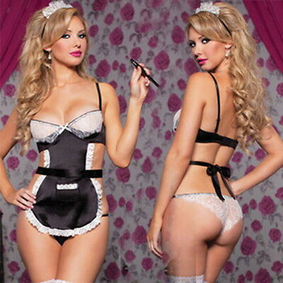 Hot Sexy/Sissy Women Lingerie Cosplay Maid Outfit Fancy Dress G-string Nightwear