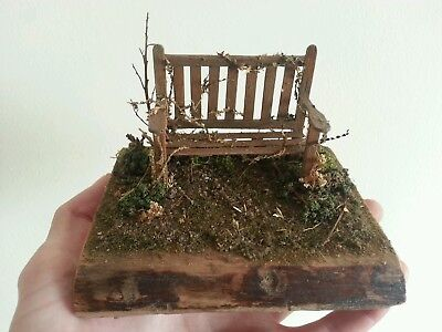 1:35 diorama. scale model Bench. Weathered garden bench display. Miniatures