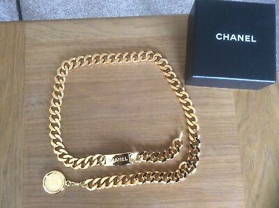 HUGE 34 INCH CHANEL GOLD PLATED NECKLACE or BELT IN BOX, NEVER WORN, NO RESERVE.