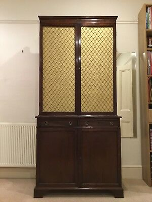 Very Shallow Elegant Mahogany Bookcase or Dresser with Brass Grill in Top Doors