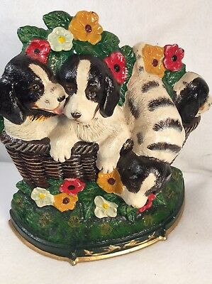 VINTAGE LARGE DOOR STOP CAST IRON 4 PUPPIES rare