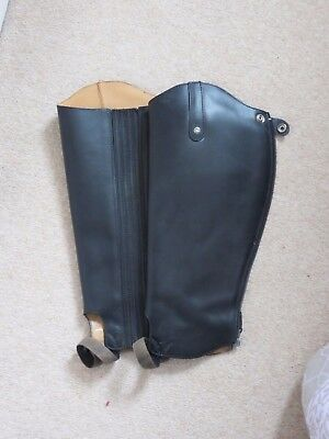 "The English Gaiter Company Black Leather Half Chaps Calf 14/15"" Length 16"""