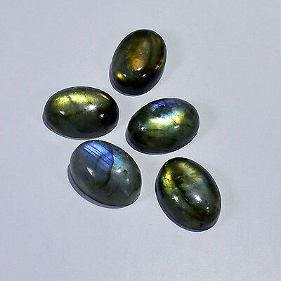18X13MM/5Pcs LABRADORITE CABOCHON CALIBRATED NATURAL FIRE OVAL GEMSTONES 0016-97