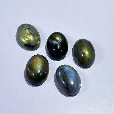 18X13MM/5Pcs LABRADORITE CABOCHON CALIBRATED NATURAL FIRE OVAL GEMSTONES 0016-89