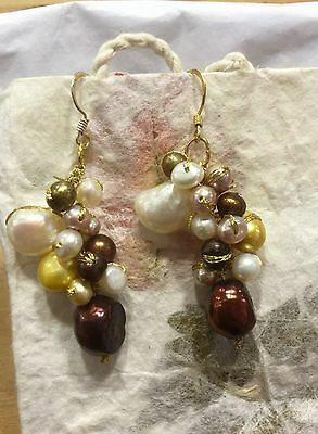 Earrings Coloured Fresh Water Pearls Cluster Silver Hooks Fair Trade Gift