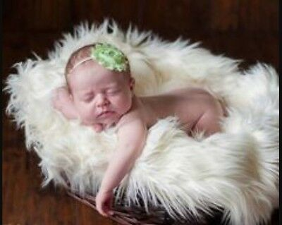 "Faux fur fabric photo props Off White 20""x30"" Newborn props, photography's."