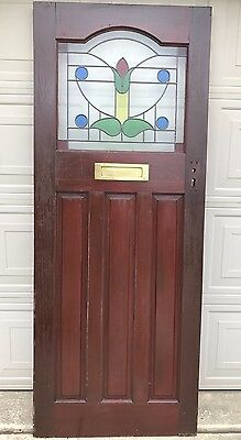 Vintage English Mahogany Arched Stained/painted Glass Floral Red Door W Drop Box