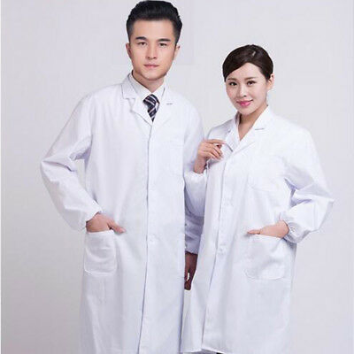 Unisex White Lab Coat Medical Doctor Uniform Long Sleeve Nursing Gown Jackets
