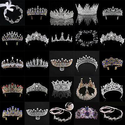 Luxury Gold Rhinestones Baroque Bridal Crown Tiara Wedding Bride Hair Headdress