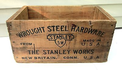 Old Vintage Wooden Box/Crate-THE STANLEY WORKS-Wrought Steel HARDWARE-S.W.-Tools