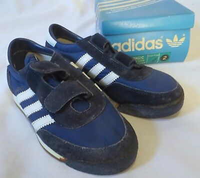 Vintage Adidas Youth Sneaker Shoes Dead Stock Navy Magic 2 Velcro