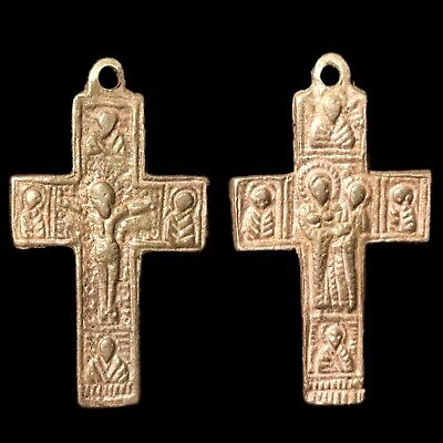 Very Rare Ancient Roman Silver Double Sided Reliquary Cross 2Nd Century A.d.