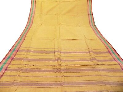 Indian Vintage Sari 100% Pure Cotton Saree Sewing Used Craft Quilt Yellow Fabric