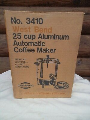 Vintage NOS West Bend No 3410 25 cup Aluminum Automatic Coffee Maker New in Box
